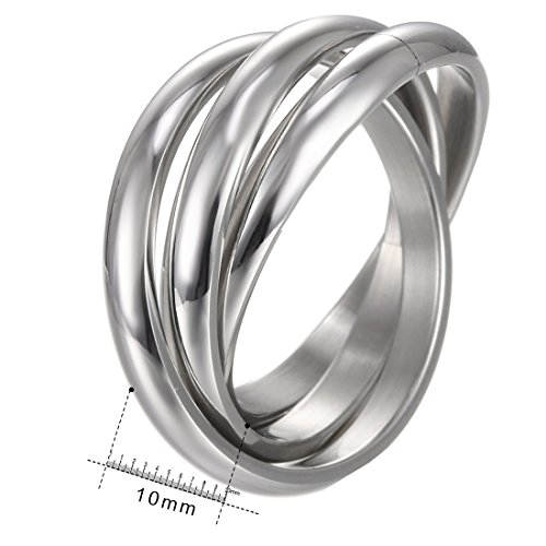 HERACULS 316L Stainless Steel 2mm Triple Interlocked Rolling High Polish Plain Dome Tarnish Resistant Wedding Band Ring (Size 8) (Steel Rolling Ring Stainless Wedding)