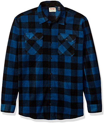 (Wrangler Authentics Men's Long Sleeve Plaid Fleece Shirt, Blue Buffalo Plaid, XL Tall)