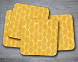 Yellow alternative geometric squares coasters, patterned table decor, drink mat