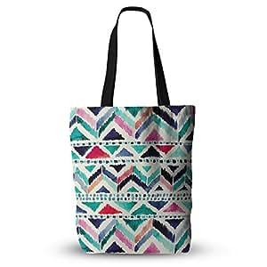 "KESS InHouse Crystal Walen""Celestial Tribal Stripe"" Teal Chevron Everything Tote Bag, 13"" x 13"", Multicolor"
