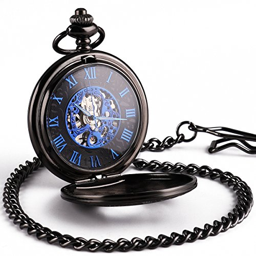 WENSHIDA Antique Half Hunter Mens Black Retro Blue Roman Numerals Dial Mechanical Pocket Watch (Pocket Watch Blue Dial compare prices)