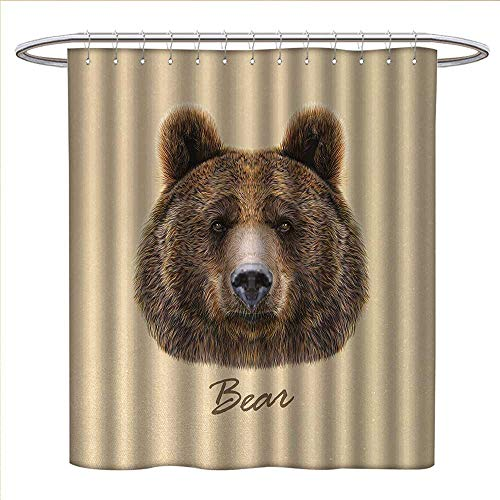 Anniutwo Bear Shower Curtains Fabric Big Bear of North America and Eurasia Realistic Strong Wildlife Beast Zoo Animal Fabric Bathroom Set with Hooks W72 x L96 Brown Sand Brown