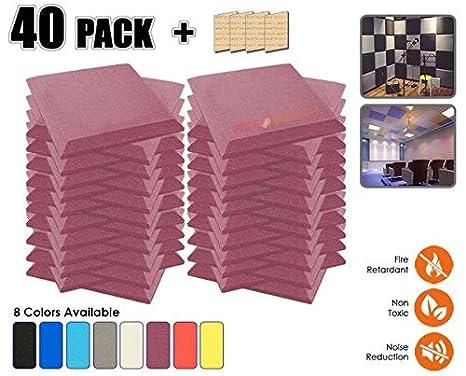 Acepunch 40 Piezas PÚRPURA Bisel de Espuma Acústica Panel DIY Estudio Aislamiento Insonorización Azulejos de la Pared Absorción Tratamiento 50 x 50 x 5 cm ...