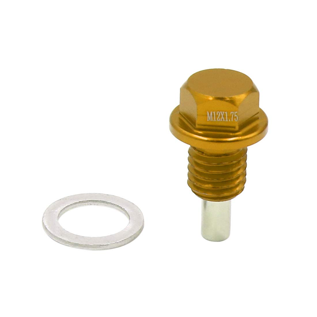 uxcell M12 x 1.75mm Thread Gold Tone Magnetic Auto Car Oil Pan Drain Bolt Kit w Washer