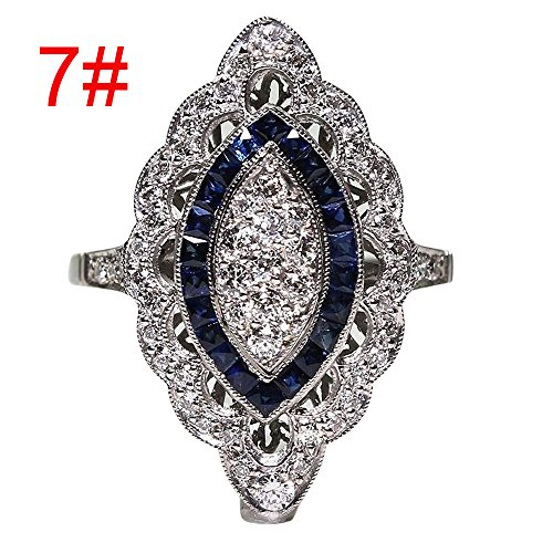 Haluoo Cubic Zirconia Ring Crystal Diamond Filled Solitaire Promise Ring Silver Plated Teardrop Ring Cocktail Engagement Wedding Band (7, Silver)