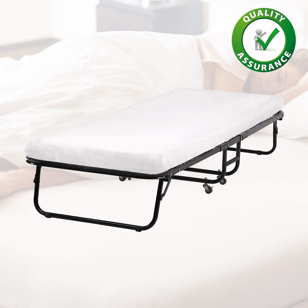BestMassage folding Potable 25D Comfort Foam Mattress L75W30L12 Inch Guest Bed,White by BestMassage