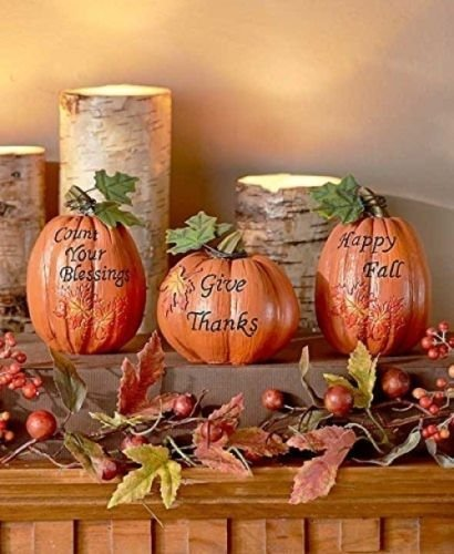 set of 3 inspirational Pumpkins Table Top Home