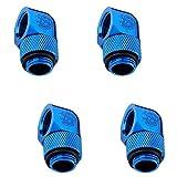 Bitspower G1/4'' Male to Female Extender Fitting, 90° Rotary, Royal Blue, 4-pack