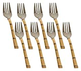 RASTOGI HANDICRAFTS Modern Fork Cutlery Set Stainless Steel and Copper for Indian Food HOME Kitchen Bar,Set of 8