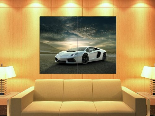 Lamborghini Aventador White Supercar Car Huge Giant Wall Print Poster