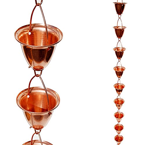 - Stanwood Rain Chain Large Cup/Bell Copper Rain Chain, 8-Feet