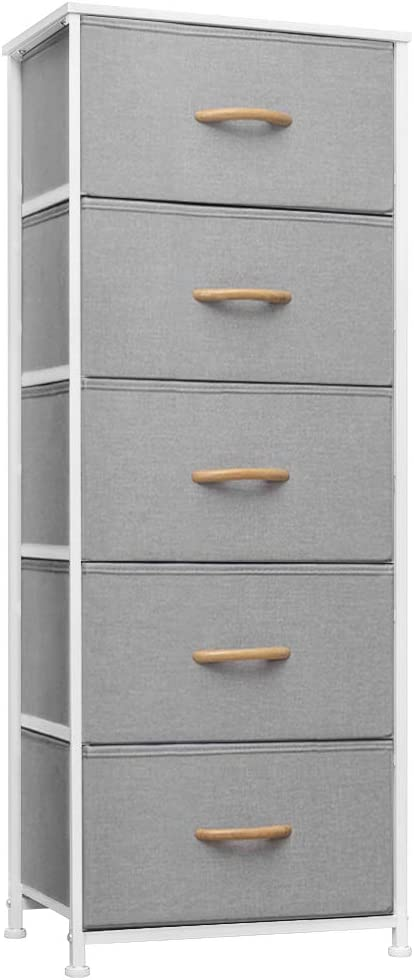 Crestlive Products Vertical Dresser Storage Tower - Sturdy Steel Frame, Wood Top, Easy Pull Fabric Bins, Wood Handles - Organizer Unit for Bedroom, Hallway, Entryway, Closets - 5 Drawers (Light Gray)