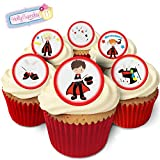24 Edible Pre-Cut Wafer Round Cake Toppers: Magician Boys