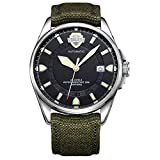 BUREI Unisex Canvas Field Watch Automatic Luminous Black Face with Date Sapphire Crystal and Green Strap