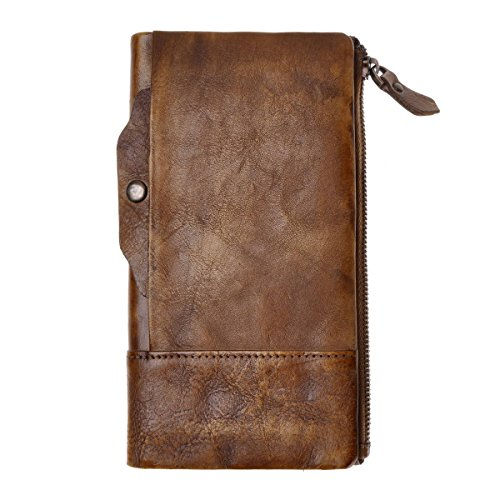 ZLYC Vintage Handmade Dip Dye Leather Long Clutch Wallet Purse with Removable Card Holder, Brown