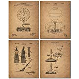 Curling Patent Prints - Set of Four Vintage Decor Wall Art Photos - Bonspiel Stone Broom Brush