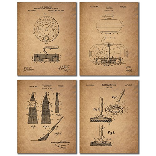 Curling Patent Prints - Set of 4 Vintage Decor Wall Art Photos - Bonspiel Stone Broom Brush