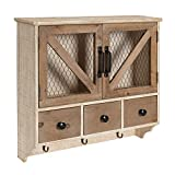 Kate and Laurel Hutchins Farmhouse Wooden Wall Cabinet Chicken Wire 2-Door Front, Rustic White-Washed Finish