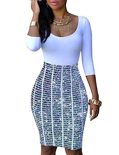 YiYaYo Womens Half Sleeve Slim Fit Hip Print Bodycon Club Dress Multi Sparkling (Looking Under Girl Dress)