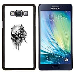 TECHCASE---Cubierta de la caja de protección para la piel dura ** Samsung Galaxy A7 ( A7000 ) ** --cráneo subió rodillo de tinta de death metal de la roca