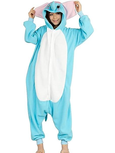 YUWELL Kigurumi Pijamas Adulto Anime Onesies Traje de Halloween (Elefante Azul) Tamaño L