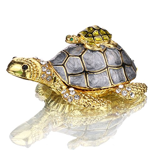 Bejeweled Crystal Trinket Box - YUFENG Bejeweled Mother and Baby Turtle Jewelry Trinket Box with Crystals Grey Color