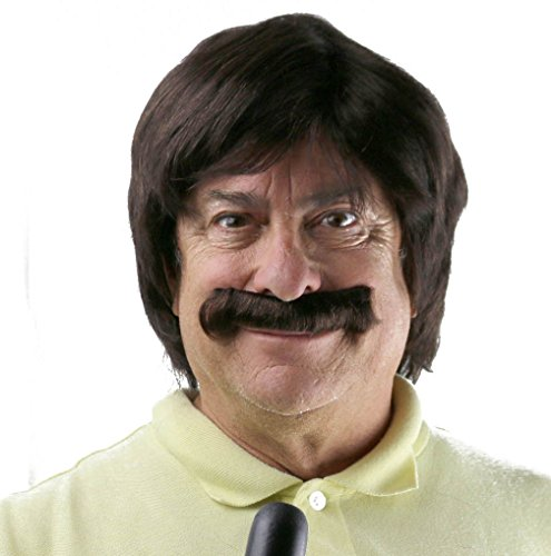 Brown Retro Wg & Mustache Set | Sonny Bono, Sonny and Cher, Anchorman, Ron Burgundy Costume Wig ()