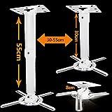 Duramex Projector Mount - Universal Ceiling Bracket LCD DLP Tilt 360° Swivel (White telescope)