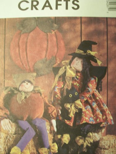 McCall's Crafts Pattern 3428 Witch Doll, Pumpkin Elf And Wall - Elf Pattern Doll
