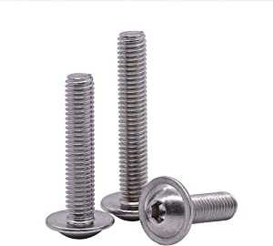 M5-0.8 x 30mm Flanged Button Head Socket Cap Screws Bolts 50 PCS, 304 Stainless Steel 18-8, Allen Socket Drive, Bright Finish, Fully Machine Threaded