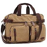 17 Inch Laptop Case,Hybrid Multifunction Briefcase Messenger Bag Versatile Laptop Backpack with Shoulder Strap Canvas BookBag for Men/Women/College (Vintage Khaki Canvas, 17 inch)