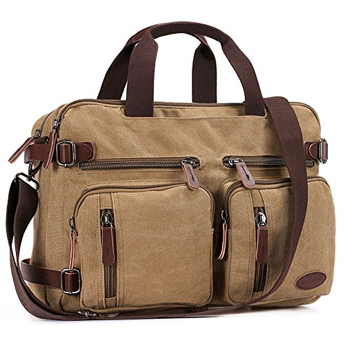 1 Convertible Briefcase - 17 Inch Laptop Briefcase,Hybrid Laptop Backpack Messenger Bag / Convertible Briefcase Backpack BookBag Rucksack Satchel Waxed Canvas
