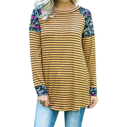 (SRYSHKR Plus Size Women's Long Sleeve Stripe Flowers Print Blouse Fashion Top T-Shirt(XL, Yellow))