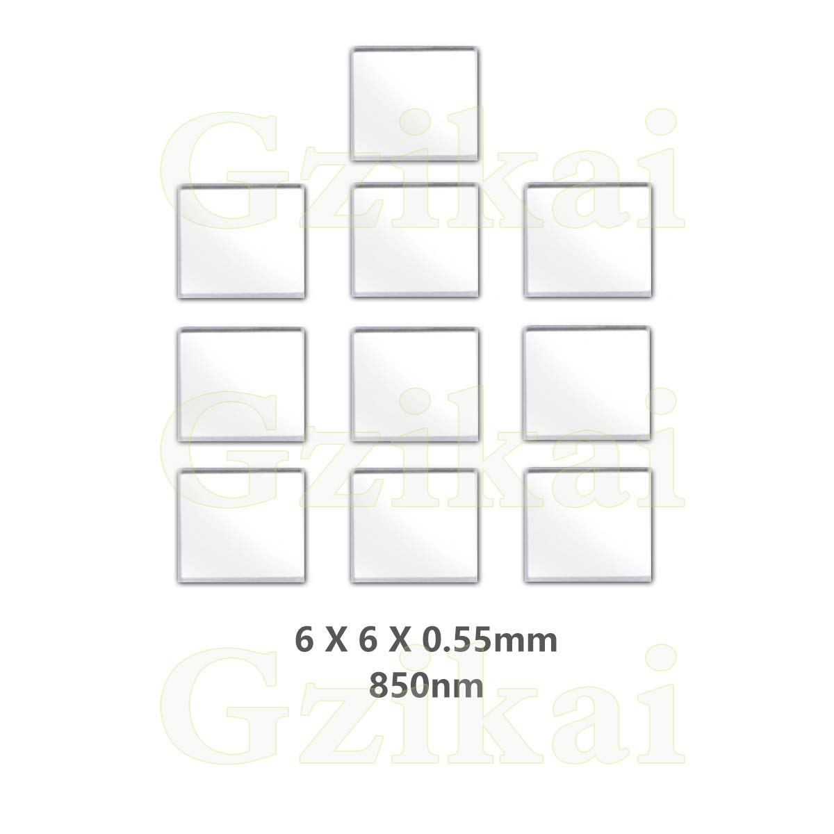 Gzikai 10pcs/1 Lot 6mm×6mm×0.55mm 850nm Optical IR-Cut Narrow Band Pass Filter for Barcode Scanner Infrared lense and Face Recognition by Gzikai