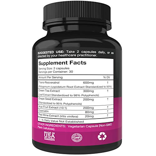 51bxsYkVjZL - Resveratrol Supplement - Potent 1400mg Formula with Trans Resveratrol, Quercetin, Grape Seed, Green Tea, Acai and Red Wine Extract - 60 Veggie Capsules