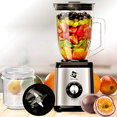 2in1 High Speed Blender & Coffee Grinder | Smoothie Maker | for Shakes Smoothies & Seasonings Sauces | 52 Oz | Stainless Steel Base & Dishwasher Safe Glass Jar