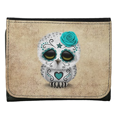 YEX Men's Cute Teal Skull Owl Leather Wallet Multicoloured Size M