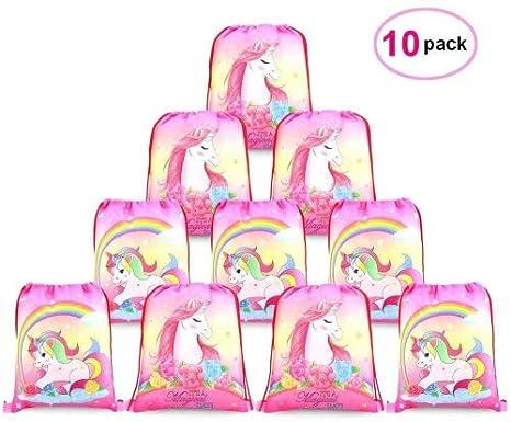 Konsait Lot 10 Unicornio Bolsa de Cuerdas Sackpack Poliéster Bolsa de Hombro Casual Mochilas Escolar Infantil niños niñas,Bolsas de cumpleaños Regalo, ...