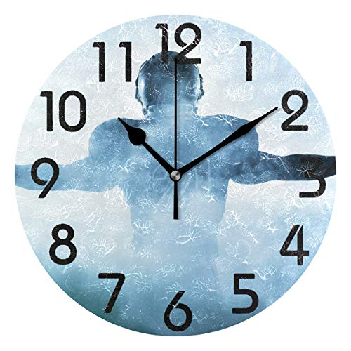 - Naanle 3D Cool American Football Player Foggy Silhouette Shadow Round Wall Clock Decorative, 9.5 Inch Battery Operated Quartz Analog Quiet Desk Clock for Home,Office,School
