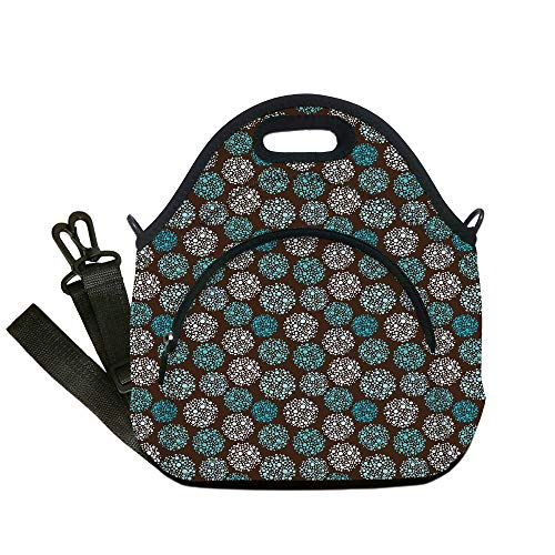 Insulated Lunch Bag,Neoprene Lunch Tote Bags,Brown and Blue,Dots Forming Oval Shapes Retro Style Abstract Geometric Vintage Decorative,Brown Turquoise White,for Adults and children