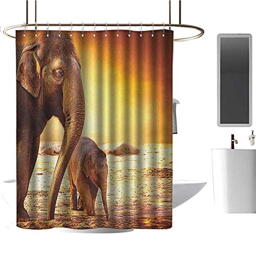 Qenuan Polyester Fabric Shower Curtain Zoo,Mother and Baby Elephant Family in Kenya Safari Landscape Environment, Orange Yellow Dark Orange,Machine Washable - Shower Hooks are Included 47