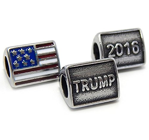 "Stainless Steel "" 3 Sided TRUMP 2016 w/ FLAG "" Republican Campaign Charm Bead Fits PANDORA for European Snake Chain Bracelets"