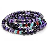 KISSPAT Natural Gemstone Bead Wrap Bracelet Crystal Chakra Stone Bracelet For Women