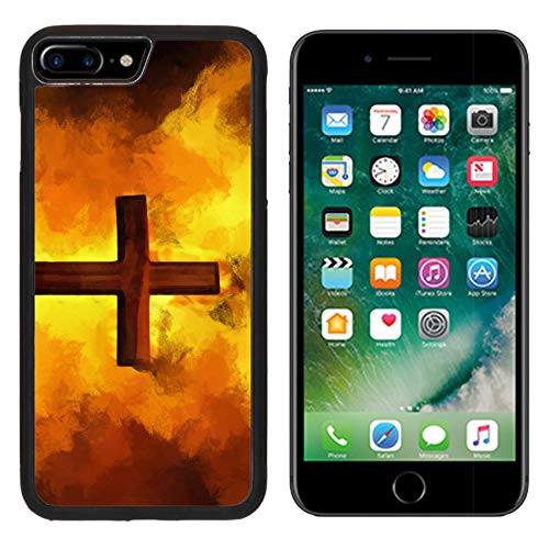 MSD Apple iPhone 8 Plus Case Aluminum Backplate Bumper Snap Case Image ID: 8501943 Flaming Cross Christian Art Vector