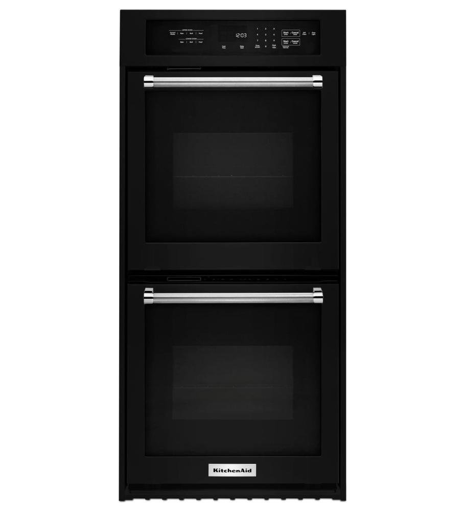 """Black Kitchenaid 24"""" Double Wall Oven With True Convection"""