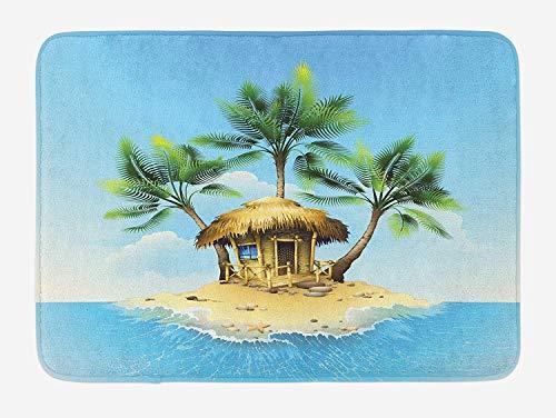 - ZQKCMY Tropical Bath Mat, Tropical Wooden Bungalow Three Palm Trees in a Small Island Cartoon Artwork, Plush Bathroom Decor Mat with Non Slip Backing, Aqua Green Beige,15.7X23.6 inch
