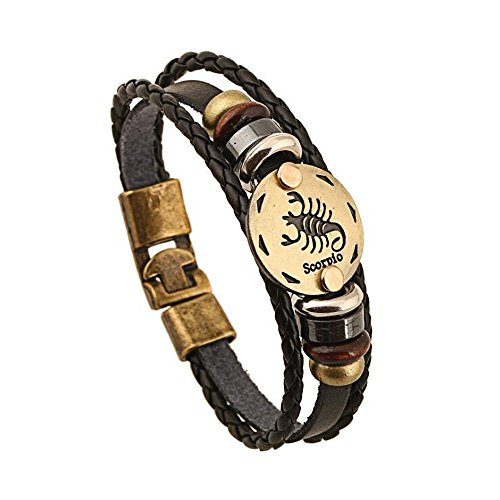 Jauxin Constellation Wrap Leather Bracelet Unisex Zodiac Sign Bangle Scorpio (Sign Zodiac Bracelet)