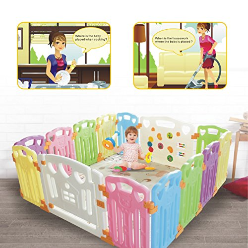 Gupamiga Multicolour 14-Panel Baby Playpen Activity Centre (Classic set)
