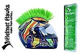 Helmet Hawks Motorcycle Helmet Mohawk w/ Sticky Velcro Adhesive - Fluorescent Lime Green