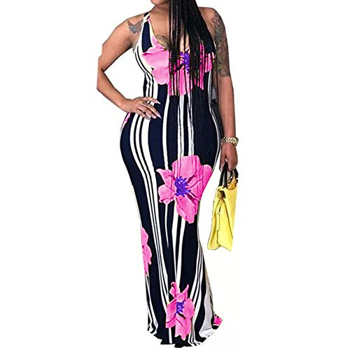 Women's Sleeveless Striped Floral Printed Summer Beach Dress Tank Maxi Long Dresses Plus Size Pink 3X-Large (Plus Size Club Dresses Size 3x)